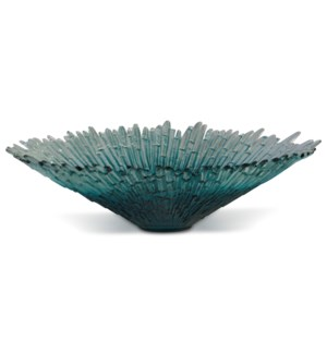 ARTICO EMERALD | 21in X 21in | Ornate Iridescent Artistic Recycled Spanish Glass Bowl