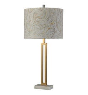 Marble Gold | Bryan Keith Branded | Marble and Steel Table Lamp | 150W | 3-Way | Hardback Shade