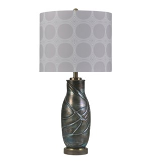 Urban Sky | Bryan Keith Branded | Transitional | Glass Body Lamp | 150W | 3-Way | Hardback Shade
