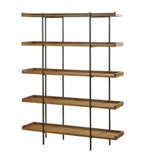 Bryan Keith Design - Metal and Natural Wood Five Shelf Bookcase