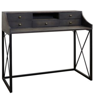 DRIFTWOOD DESK | 38in X 44in | Gray 5 Drawer Desk with a Traditional Black Steel Base