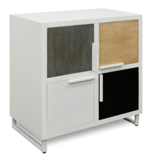 FOUR SQUARE CABINET | 35in X 32in | Contemporary Wood 4 Door Cabinet with Steel Base