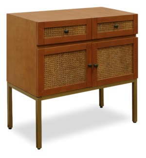 CANE CONSOLE | 32in X 32in | Cane Console | Stylish 2 Drawer 2 Door Cane Front Cabinet with Gold Met