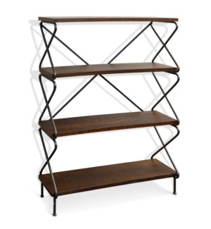 HOURGLASS BOOKSHELF | 50in X 35in | Wood and Steel Industrial Bookshelf with Black Metal Legs
