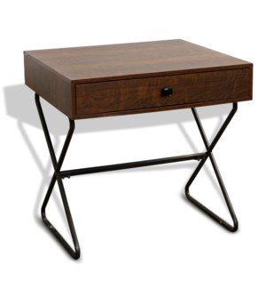 HOURGLASS END TABLE | 24in X 24in | Industrial 1 Drawer End Table with Black Metal Legs