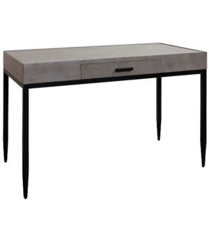 DRIFTWOOD DESK | 31in X 48in | 1 Drawer Desk with Wood Side Glide and Black Inside Finish  Metal Bas