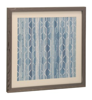 Bryan Keith Contemporary Blue and White Print Framed Under Glass