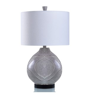 PAINTED PEWTER   Snake Skin Embossed with Tapestry Design Table Lamp   15in w X 26in ht X 15in d   1