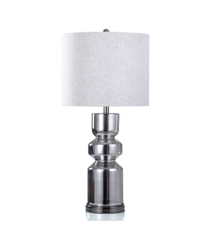 HOKE SILVER   Nickel Plated Glass Body Table Lamp with Black Chrome Base   15in w X 31in ht X 15in d