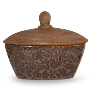 Oxide Brown | 7in. Ht Textured Ceramic Box with Lid