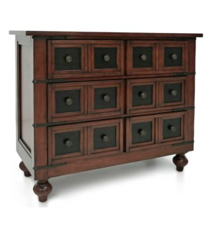 CLASSIC APOTHOCARY | 35in X 42in | Traditional Wood 3 Drawer Chest with Turned Legs