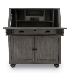 SECRETARY DESK | 42in X 36in | Traditional Distressed Grey Desk with Electrical Outlet and USB Charg