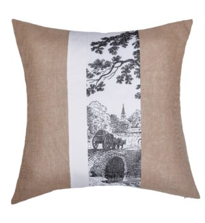 Jute and Cotton Canvas and Satin Cushion