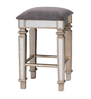Mirrored Stool | 16in X 16in X 28in Glamorous Traditonal Mirrored Bar Stool with Grey Velvet Fabric