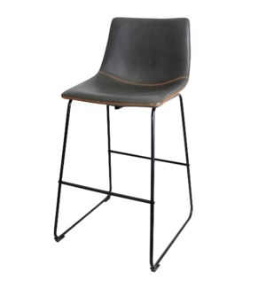 Contour Bar Stool | 29in Seat Height | 22in X 39in X 20in Distinctive Black Powder Coat Iron Sled Ba