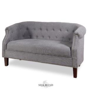 GREY VELVET SETTEE | 30in X 56in | Traditional Tufted Grey Velvet Settee with Nail head Trim and Woo