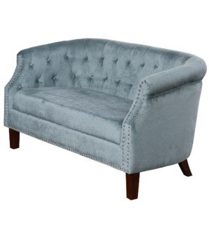 TUFTED BABY BLUE | 30ht X 56w X 30d | Fabric Settee Sofa with Inside Tufted Side Arms and Back