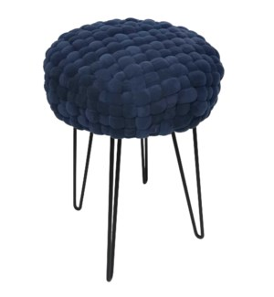QUILTED BLUE | 19ht X 14w X 14d | Woven Cushion Accent Stool with Black Metal Paper Clip Legs