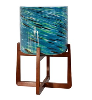 GLASS PLANTER: BLUE GREEN STRIPES WITH WOOD STAND