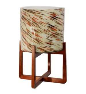 ART GLASS PLANTER   Painted Glass Planter on Wooden Stand   12in w X 20in ht X 12in d