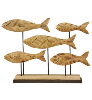 School of Fish Accessory Carved From Mango Wood