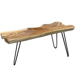Baron Coffee Table | 40in X 16in X 16in | Rustic Solid Teak Wood Table Top with Iron Paper Clip Legs
