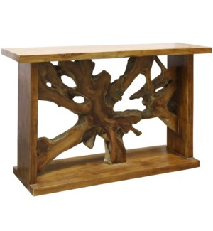 Bennet Console Table | 52in X 33in X 16in | Rustic Solid Teak Root and mahoany frame in a natural Oi