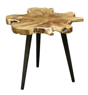 Lilly Side Table | 26in X 25in X 18in Rustic Free Form Teak Root Table Top Finished in Clear Laquer
