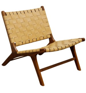 Charles Lounge Chair | 26in X 27in X 31in Retro Teak Wood & Genuine Woven Leather Seat & Seat Back