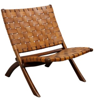 Richard Lounge Chair | 26in X 32in X 30in Retro Foldable Teak Wood & Genuine Woven Leather Seat & Se