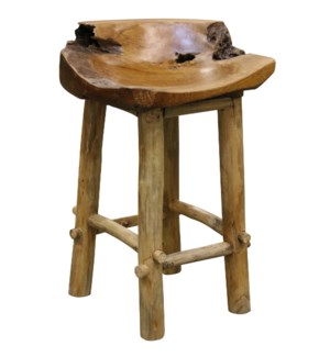 Basin Counter Stool | 18in X 29in X 16in | Rustic Solid Natural Wood Raw Edge Stool with Clear Lacqu
