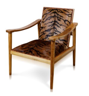 SONOR ARM CHAIR   Tiger Print Lounge Chair   Solid Teak Wood Frame with a Light Stain Finish   Chest