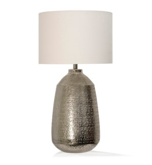 TEXTURED NICKEL | 16in w. X 31in ht. X 16in d. | Metal Base Table Lamp with Round Linen Drum Shade |