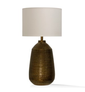 TEXTURED ANTIQUE BRASS | 16in w. X 32in ht. X 16in d. | Metal Base Table Lamp with Round Linen Drum