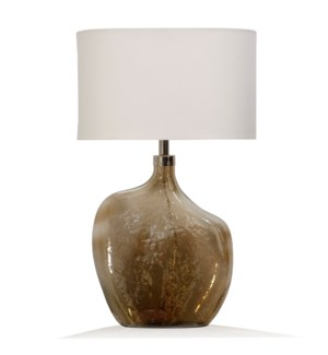 GOLD LUSTER | 17in w. X 29in ht. X 10in d. | Amber Art Glass Base Table Lamp with Round Linen Drum S
