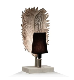 NICKEL NIGHT LIGHT | 7in w. X 17in ht. X 5in d. | Metal Leaf Design Desk or Side Table Lamp on Natur