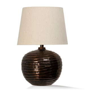 ANTIQUE COPPER | 14in w. X 23in ht. X 14in d. | Hammered Design Metal Body Table Lamp with Round Lin