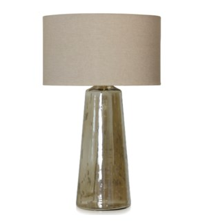 Glass Lamp Base W/Beige Fabric Shade SIZE 27inchH x 18inchD
