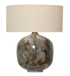 Iron Lamp W/Beige Fabric Shade SIZE 26inch H x 21.5inch D