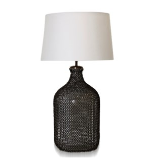 WEBBED GLASS   Clear Glass Body Wrapped in Metal Mesh Net Table Lamp   Made in India   16in w X 29in