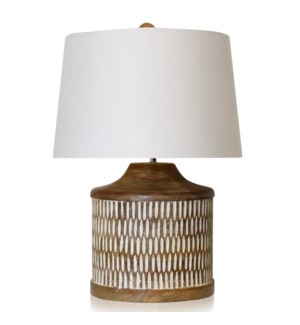 NATURAL & WHITE   Carved Wood Body Table Lamp with Painted Accents   18in w X 20in ht X 18in d   100