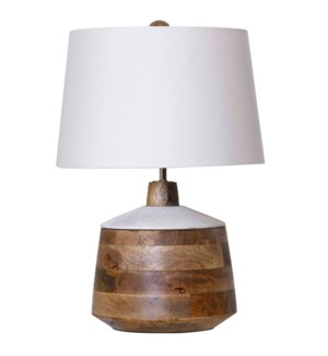 NATURAL & WHITE   Carved Wood Body Table Lamp with Marble Lid Accent   13in w X 18in ht X 13in d   1