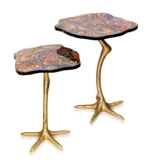 SET of TWO ROOSTER LEG SIDE TABLES