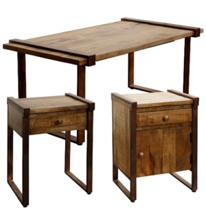 MANGO WOOD SET OF TABLES | Coffee Table 21in X 42in X 18in | Accent Tables 18in X 15in X 24in | Rust
