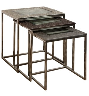 POLISHED NICKEL GUN METAL & BRONZE | 21ht X 20w X 16d | Nested Set of 3 Tables with Cast Aluminum Tr