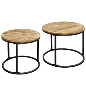 SET OF TWO NESTED ROUND TABLES | 26in w X 20in ht X 26 d | Nesting tables with Natural Wood Tops and