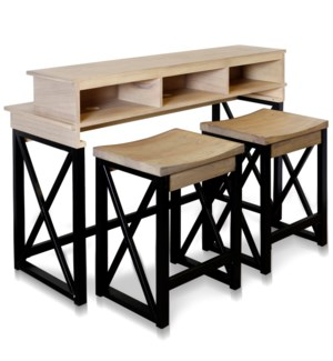 ROUNA CONSOLE & STOOLS   Console & Desk Combo with Storage and Stools   52in w X 36in ht X 18in d