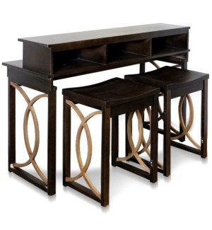 CIUVI CONSOLE & STOOLS   Console & Desk Combo with Storage and Stools   52in w X 36in ht X 18in d