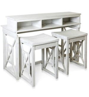 QUINA CONSOLE & STOOLS   Console & Desk Combo with Storage and Stools   52in w X 36in ht X 18in d