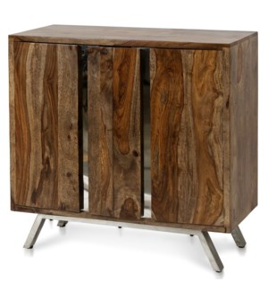 BENGAL CABINET   Wooden Two Door Cabinet with Chrome Metal Inset and Base   35in w X 34in ht X 16in